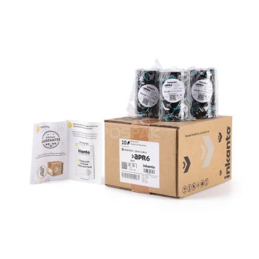 Picture of ยกกล่อง INKANTO APR6 Size 110mm X 300m F/O แกน 1 นิ้ว Wax Resin Ribbon หมึกริบบอน (PN: T42461IO) 10 ม้วน