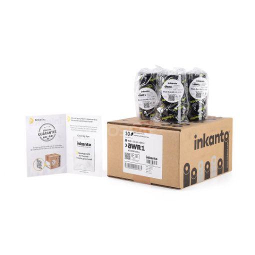 Picture of ยกกล่อง INKANTO AWR1 Size 110mm X 300m F/O แกน 1 นิ้ว Wax Ribbon หมึกริบบอน (PN: T57806IO) 10 ม้วน