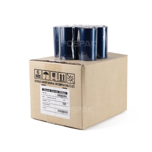 Picture of ยกกล่อง DNP M255 SIZE 110MM X 300M F/O แกน 1 นิ้ว Premium Wax Resin RIBBON หมึกริบบอน 12 ม้วน