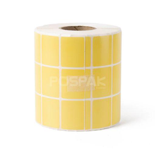 รูปของ ST.TT Size 3.2 x 2.5 cm (32 x 25 mm) 5,000 ดวง/ม้วน แกน 1.5 นิ้ว พื้นหลังสีเหลือง สติ๊กเกอร์กระดาษ กึ่งมันกึ่งด้าน (ใช้ร่วมกับ Resin Ribbon เท่านั้น)