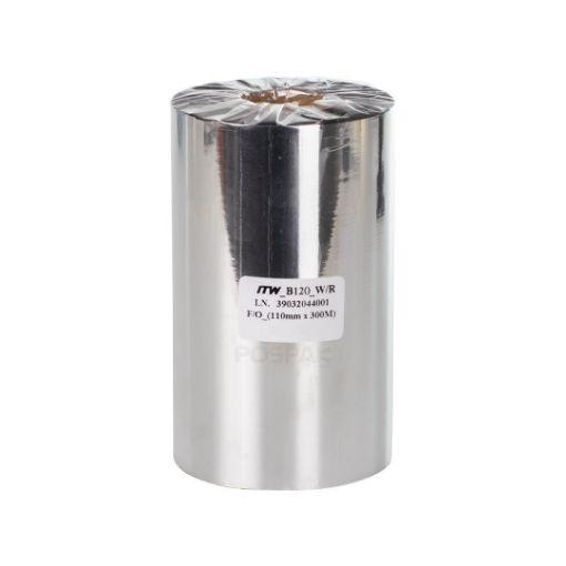 รูปของ ITW B120 SIZE 110MM X 300M F/O แกน 1 นิ้ว Wax Resin Ribbon หมึกริบบอน