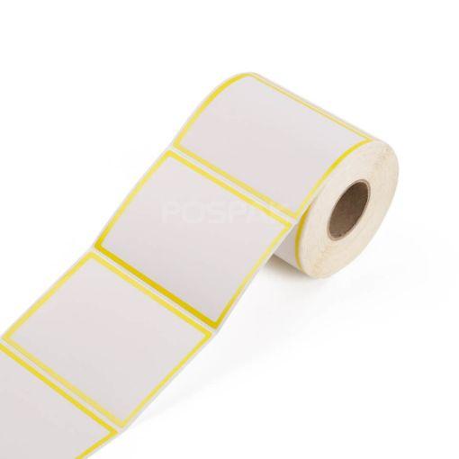 รูปของ ST.TT Size 4 x 6 inch Sticker 250 ดวง/ม้วน แกน 1.5 นิ้ว ขอบสีเหลือง สติ๊กเกอร์กระดาษ กึ่งมันกึ่งด้าน (ใช้ร่วมกับ Wax Ribbon หรือ Wax Resin Ribbon)