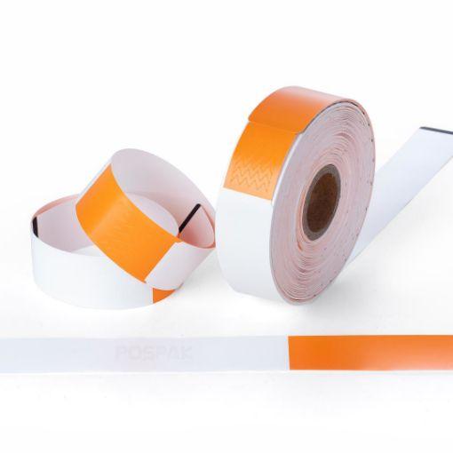 รูปของ WB01 Orange Size 279 x 25.4 mm PET Thermal WristBand สายรัดข้อมือ สำหรับผู้ใหญ่ จำนวน 200 ดวง/ม้วน